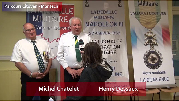 Parcours Citoyen des écoles de la ville de Montech - Henry Dessaux et Michel Chatelet - atelier Médaille Militaire
